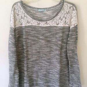 {Maurices} Knit/Lace Long Sleeve Sweater